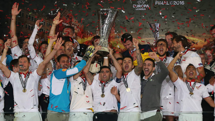 BASEL, SWITZERLAND - MAY 18: Jose Antonio Reyes of Sevilla lifts the trophy following the UEFA Europa League Final match between Liverpool and Sevilla at St. Jakob-Park on May 18, 2016 in Basel, Switzerland. (Photo by Chris Brunskill Ltd/Getty Images)
