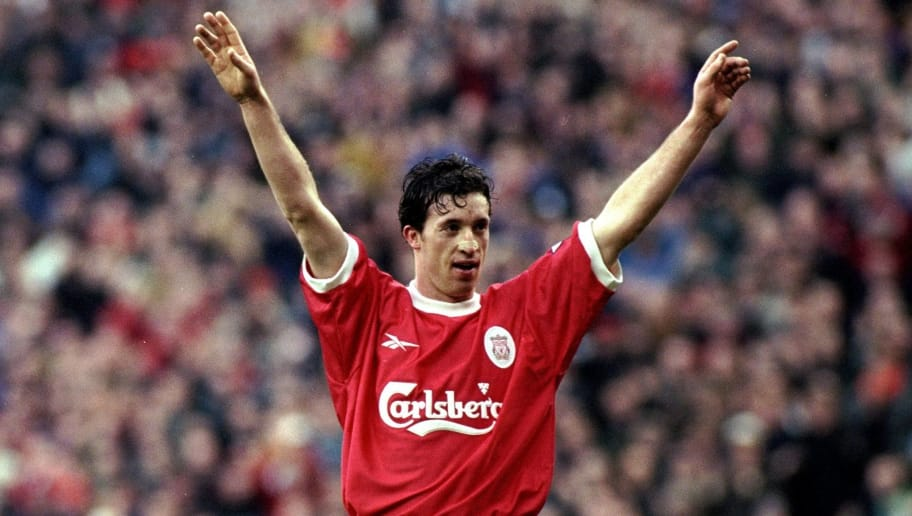 16 Jan 1999:  Robbie Fowler of Liverpool celebrates a goal during the FA Carling Premiership match against Southampton at Anfield in Liverpool, England. Liverpool won the game 7-1. \ Mandatory Credit: Laurence Griffiths /Allsport