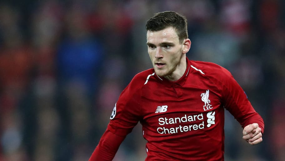 LIVERPOOL, ENGLAND - DECEMBER 11: Andy Robertson of Liverpool in action during the UEFA Champions League Group C match between Liverpool and SSC Napoli at Anfield on December 11, 2018 in Liverpool, United Kingdom. (Photo by Clive Brunskill/Getty Images)