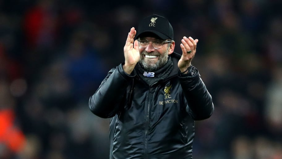LIVERPOOL, ENGLAND - DECEMBER 11:  Jurgen Klopp, Manager of Liverpool celebrates after the UEFA Champions League Group C match between Liverpool and SSC Napoli at Anfield on December 11, 2018 in Liverpool, United Kingdom.  (Photo by Clive Brunskill/Getty Images)