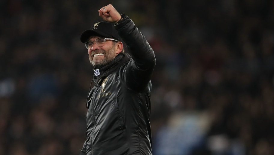 LIVERPOOL, ENGLAND - DECEMBER 11: A delighted Liverpool manager \ head coach Jurgen Klopp during the UEFA Champions League Group C match between Liverpool and SSC Napoli at Anfield on December 11, 2018 in Liverpool, United Kingdom. (Photo by Matthew Ashton - AMA/Getty Images)