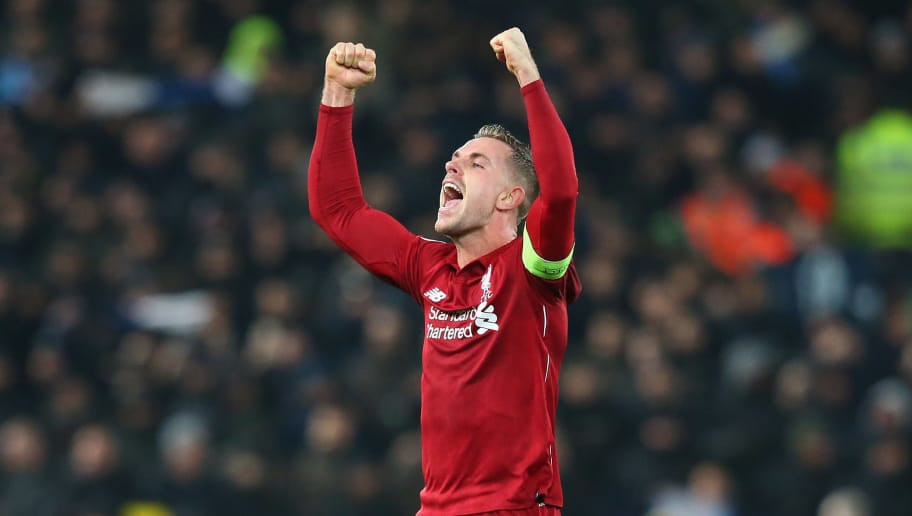 LIVERPOOL, ENGLAND - DECEMBER 11:  Jordan Henderson of Liverpool celebrates after the UEFA Champions League Group C match between Liverpool and SSC Napoli at Anfield on December 11, 2018 in Liverpool, United Kingdom.  (Photo by Alex Livesey - Danehouse/Getty Images)