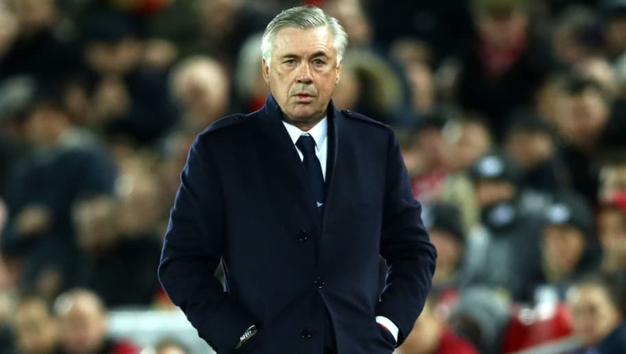 LIVERPOOL, ENGLAND - DECEMBER 11:  Carlo Ancelotti, Manager of Napoli looks on during the UEFA Champions League Group C match between Liverpool and SSC Napoli at Anfield on December 11, 2018 in Liverpool, United Kingdom.  (Photo by Clive Brunskill/Getty Images)