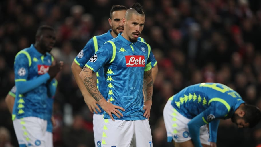 LIVERPOOL, ENGLAND - DECEMBER 11: A dejected Marek Hamsik of Napoli during the UEFA Champions League Group C match between Liverpool and SSC Napoli at Anfield on December 11, 2018 in Liverpool, United Kingdom. (Photo by Matthew Ashton - AMA/Getty Images)