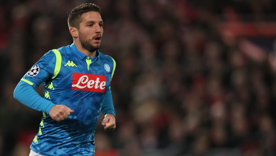LIVERPOOL, ENGLAND - DECEMBER 11: Dries Mertens of Napoli during the UEFA Champions League Group C match between Liverpool and SSC Napoli at Anfield on December 11, 2018 in Liverpool, United Kingdom. (Photo by Matthew Ashton - AMA/Getty Images)