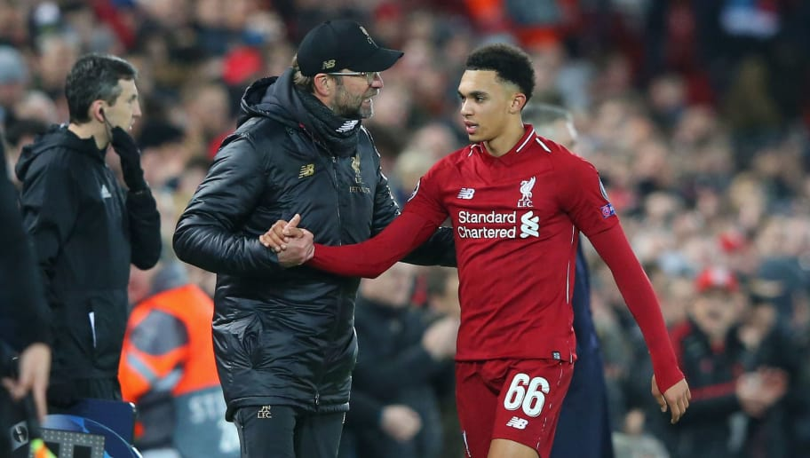 LIVERPOOL, ENGLAND - DECEMBER 11:  Jurgen Klopp the manager of Liverpool shakes hands with Trent Alexander-Arnold after he was substituted during the UEFA Champions League Group C match between Liverpool and SSC Napoli at Anfield on December 11, 2018 in Liverpool, United Kingdom.  (Photo by Alex Livesey - Danehouse/Getty Images)