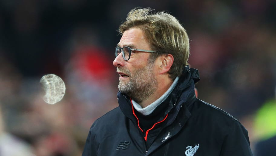 LIVERPOOL, ENGLAND - DECEMBER 27:  Jurgen Klopp manager of Liverpool looks on prior to the Premier League match between Liverpool and Stoke City at Anfield on December 27, 2016 in Liverpool, England.  (Photo by Alex Livesey/Getty Images)