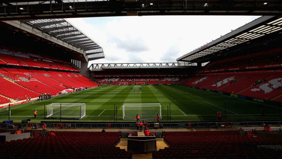LIVERPOOL, ENGLAND - APRIL 28:  A general view inside the stadium prior to the Premier League match between Liverpool and Stoke City at Anfield on April 28, 2018 in Liverpool, England.  (Photo by Clive Brunskill/Getty Images)