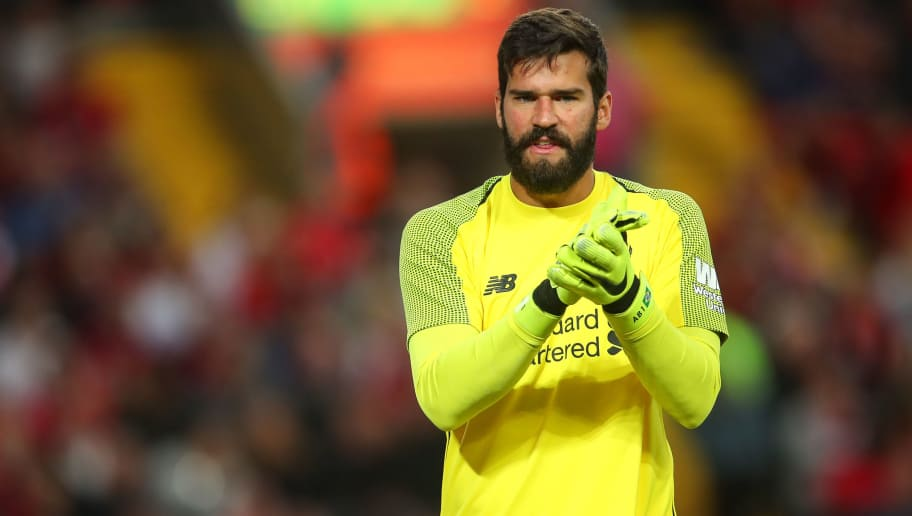 LIVERPOOL, ENGLAND - AUGUST 07: Alisson Becker of Liverpool during the pre-season friendly between Liverpool and Torino at Anfield on August 7, 2018 in Liverpool, England. (Photo by Robbie Jay Barratt - AMA/Getty Images)