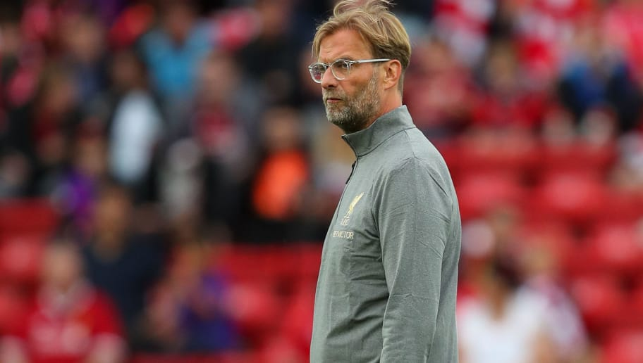 LIVERPOOL, ENGLAND - AUGUST 07: Jurgen Klopp manager / head coach of Liverpool during the pre-season friendly between Liverpool and Torino at Anfield on August 7, 2018 in Liverpool, England. (Photo by Robbie Jay Barratt - AMA/Getty Images)