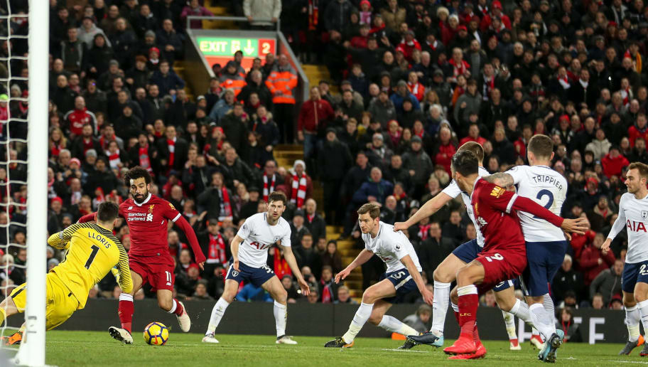 LIVERPOOL, ENGLAND - FEBRUARY 04: Mohamed Salah of Liverpool scores a goal to make it 2-1 during the Premier League match between Liverpool and Tottenham Hotspur at Anfield on February 4, 2018 in Liverpool, England. (Photo by Robbie Jay Barratt - AMA/Getty Images)