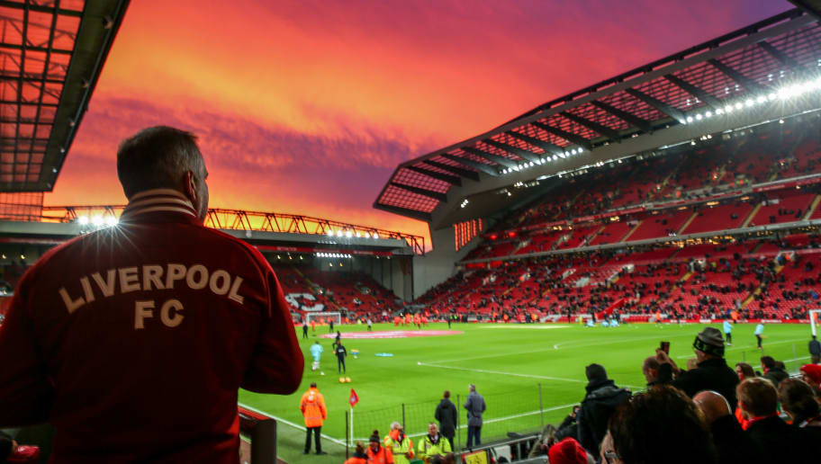 LIVERPOOL, ENGLAND - DECEMBER 11: A general view of a red sky and sunset over Anfield, home stadium of Liverpool prior to kick off in the Premier League match between Liverpool and West Ham United at Anfield on December 11, 2016 in Liverpool, England. (Photo by Robbie Jay Barratt - AMA/Getty Images)
