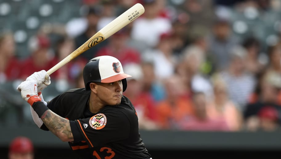 BALTIMORE, MD - JUNE 29: Manny Machado #13 of the Baltimore Orioles bats against the Los Angeles Angels of Anaheim in the first inning at Oriole Park at Camden Yards on June 29, 2018 in Baltimore, Maryland. (Photo by Patrick McDermott/Getty Images)