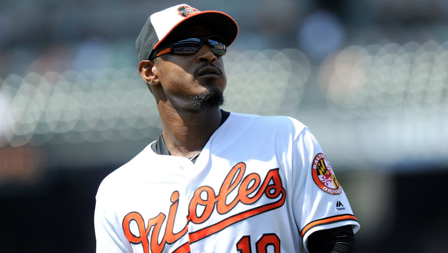 BALTIMORE, MD - JULY 01: Adam Jones #10 of the Baltimore Orioles walks to the dugout during the game against the Los Angeles Angels at Oriole Park at Camden Yards on July 1, 2018 in Baltimore, Maryland.  (Photo by G Fiume/Getty Images)