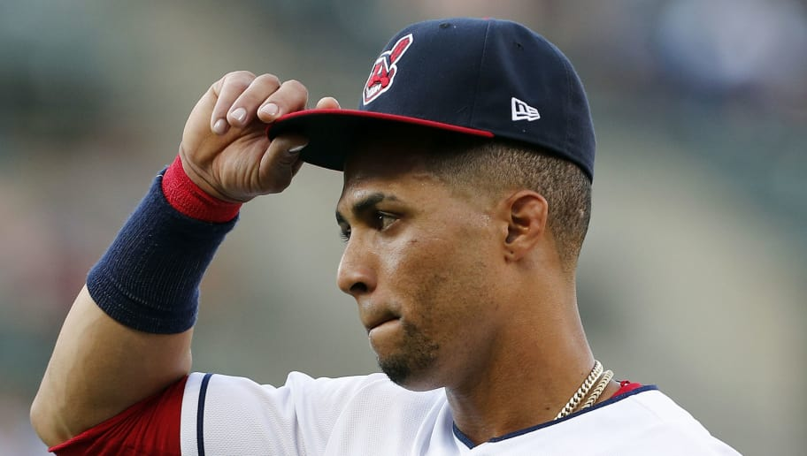 CLEVELAND, OH - AUGUST 04: Leonys Martin #13 of the Cleveland Indians walks to the dugout before the start of the game against the Los Angeles Angels of Anaheim at Progressive Field on August 4, 2018 in Cleveland, Ohio. The Indians defeated the Angels 3-0.  (Photo by David Maxwell/Getty Images)