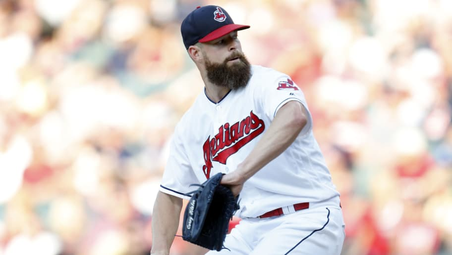 CLEVELAND, OH - AUGUST 04: Corey Kluber #28 of the Cleveland Indians pitches against the Los Angeles Angels of Anaheim during the first inning at Progressive Field on August 4, 2018 in Cleveland, Ohio. The Indians defeated the Angels 3-0.  (Photo by David Maxwell/Getty Images)