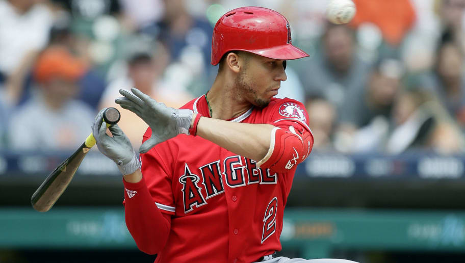 DETROIT, MI - MAY 31:  Andrelton Simmons #2 of the Los Angeles Angels of Anaheim avoids a pitch from Warwick Saupold of the Detroit Tigers during the sixth inning at Comerica Park on May 31, 2018 in Detroit, Michigan. The Tigers defeated the Angels 6-2. (Photo by Duane Burleson/Getty Images)
