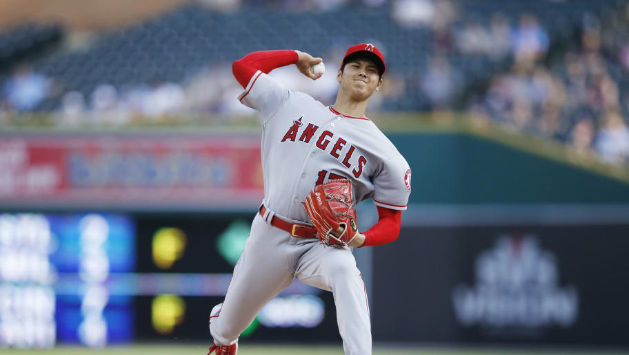DETROIT, MI - MAY 30: Shohei Ohtani #17 of the Los Angeles Angels pitches in the first inning of a game against the Detroit Tigers at Comerica Park on May 30, 2018 in Detroit, Michigan. The Tigers won 6-1. (Photo by Joe Robbins/Getty Images)
