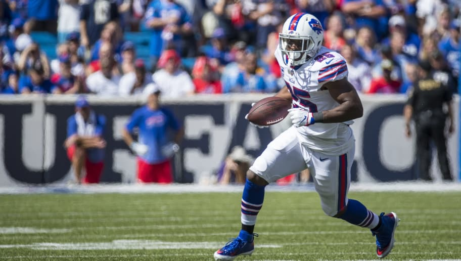 ORCHARD PARK, NY - SEPTEMBER 16:  LeSean McCoy #25 of the Buffalo Bills carries the ball during the first half against the Los Angeles Chargers at New Era Field on September 16, 2018 in Orchard Park, New York. Los Angeles defeats Buffalo 31-20.  (Photo by Brett Carlsen/Getty Images)