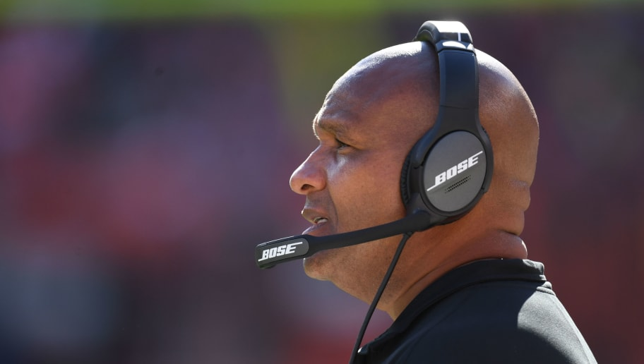 CLEVELAND, OH - OCTOBER 14: Head coach Hue Jackson of the Cleveland Browns reacts to a play in the second half against the Los Angeles Chargers at FirstEnergy Stadium on October 14, 2018 in Cleveland, Ohio. (Photo by Jason Miller/Getty Images)