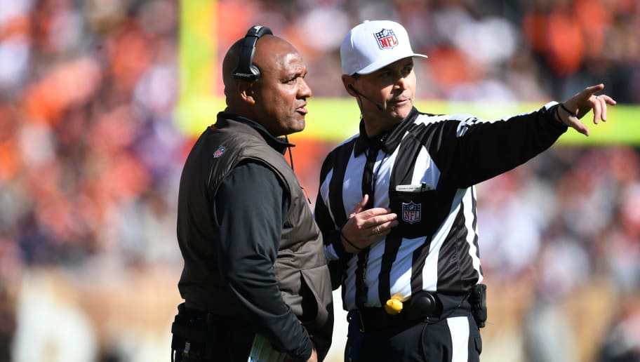 CLEVELAND, OH - OCTOBER 14: Head coach Hue Jackson talks to an official in the first half against the Los Angeles Chargers  of the Cleveland Browns at FirstEnergy Stadium on October 14, 2018 in Cleveland, Ohio. (Photo by Jason Miller/Getty Images)