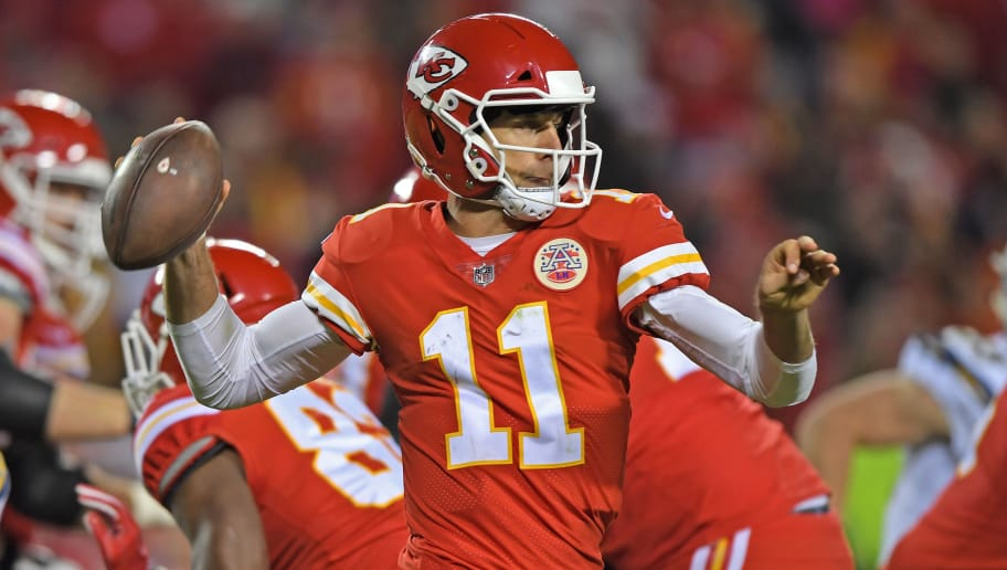 KANSAS CITY, MO - DECEMBER 16:  Quarterback Alex Smith #11 of the Kansas City Chiefs throws a pass against the Los Angeles Chargers during the second half at Arrowhead Stadium on December 16, 2017 in Kansas City, Missouri.  (Photo by Peter G. Aiken/Getty Images)