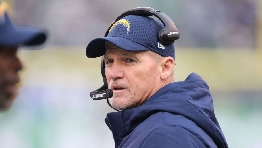 EAST RUTHERFORD, NJ - DECEMBER 24: Offensive Coordinator Ken Whisenhunt of the Los Angeles Chargers in action against the New York Jets in an NFL game at MetLife Stadium on December 24, 2017 in East Rutherford, New Jersey. (Photo by Al Pereira/Getty Images)