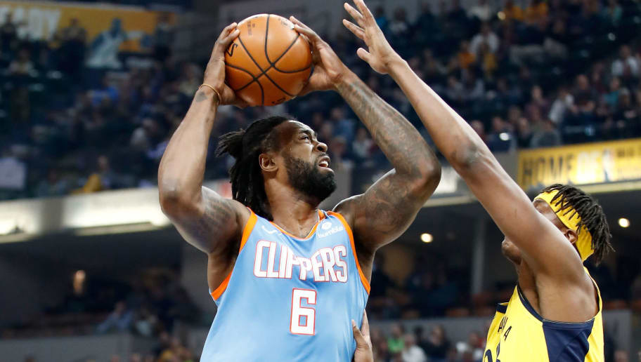 INDIANAPOLIS, IN - MARCH 23:  DeAndre Jordan #6 of the Los Angeles Clippers shoots the ball against the Indiana Pacers at Bankers Life Fieldhouse on March 23, 2018 in Indianapolis, Indiana.  NOTE TO USER: User expressly acknowledges and agrees that, by downloading and or using this  (Photo by Andy Lyons/Getty Images)