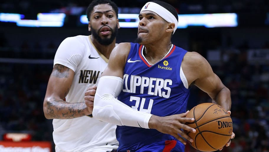 NEW ORLEANS, LA - OCTOBER 23:  Tobias Harris #34 of the LA Clippers drives against Anthony Davis #23 of the New Orleans Pelicans during a game at the Smoothie King Center on October 23, 2018 in New Orleans, Louisiana. NOTE TO USER: User expressly acknowledges and agrees that, by downloading and or using this photograph, User is consenting to the terms and conditions of the Getty Images License Agreement.  (Photo by Jonathan Bachman/Getty Images)