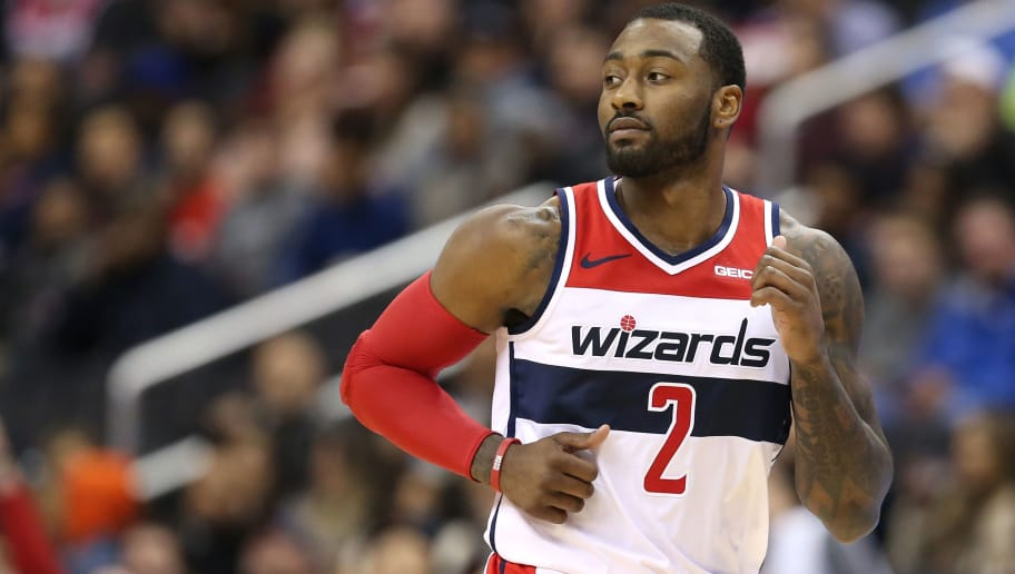 WASHINGTON, DC - NOVEMBER 20: John Wall #2 of the Washington Wizards looks on against the LA Clippers during the first half at Capital One Arena on November 20, 2018 in Washington, DC. NOTE TO USER: User expressly acknowledges and agrees that, by downloading and or using this photograph, User is consenting to the terms and conditions of the Getty Images License Agreement. (Photo by Will Newton/Getty Images)
