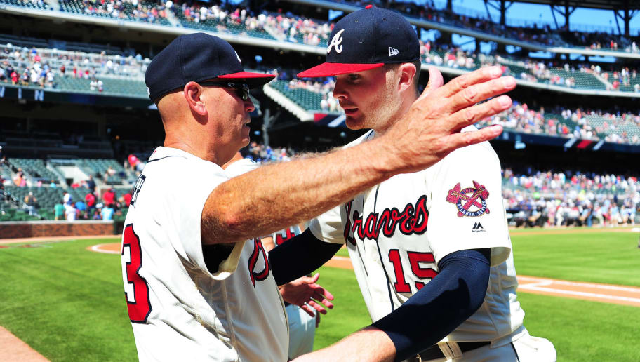 ATLANTA, GA - JULY 29: Sean Newcomb #15 of the Atlanta Braves is congratulated by Manager Brian Snitker #43 after the game against the Los Angeles Dodgers at SunTrust Park on July 29, 2018 in Atlanta, Georgia. (Photo by Scott Cunningham/Getty Images)