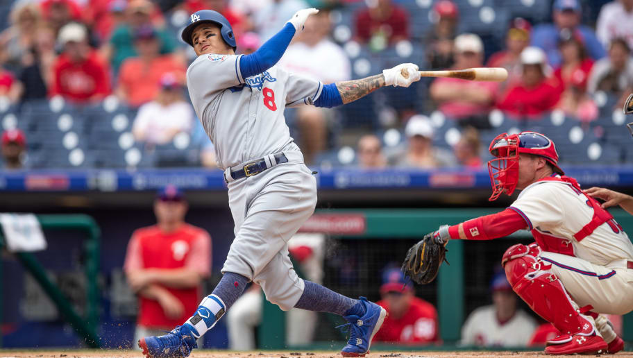 PHILADELPHIA, PA - JULY 25:  Manny Machado #8 of the Los Angeles Dodgers bats during the game against the Philadelphia Phillies at Citizens Bank Park on Wednesday July 25, 2018 in Philadelphia, Pennsylvania. (Photo by Rob Tringali/SportsChrome/Getty Images)