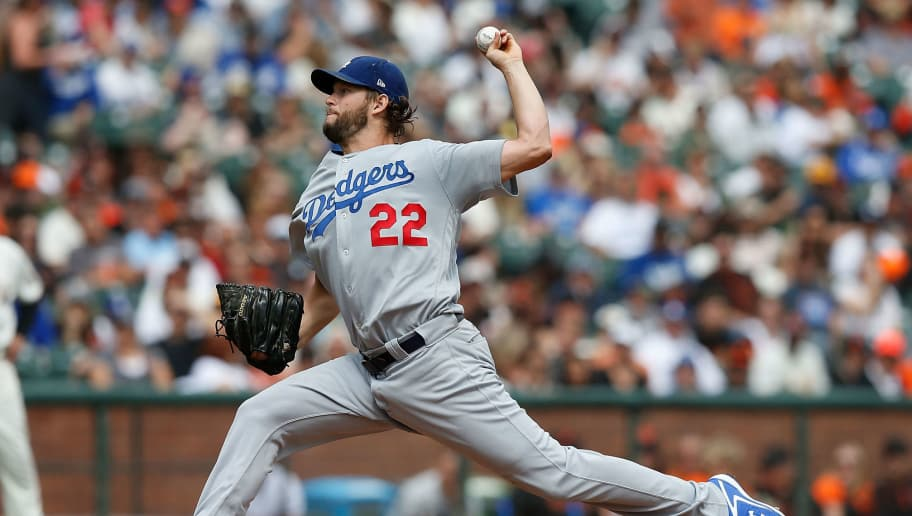 SAN FRANCISCO, CA - SEPTEMBER 29: Clayton Kershaw #22 of the Los Angeles Dodgers pitches in the bottom of the first inning against the San Francisco Giants at AT&T Park on September 29, 2018 in San Francisco, California. (Photo by Lachlan Cunningham/Getty Images)