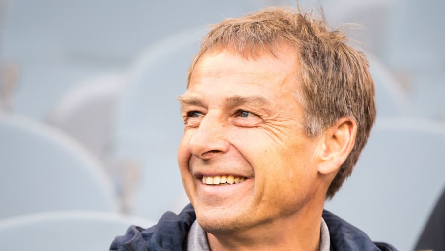 LOS ANGELES, CA - MAY 22:  Jurgen Klinsmann during Los Angeles FC's friendly match against Borussia Dortmund at the Banc of California Stadium on May 22, 2018 in Los Angeles, California.  The match ended in a 1-1 tie.  (Photo by Shaun Clark/Getty Images)