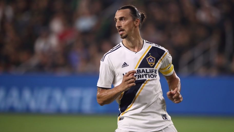 LOS ANGELES, CA - JULY 26: Zlatan Ibrahimovic of LA Galaxy during the MLS match between LAFC and LA Galaxy at Banc of California Stadium on July 26, 2018 in Los Angeles, California. (Photo by Matthew Ashton - AMA/Getty Images)