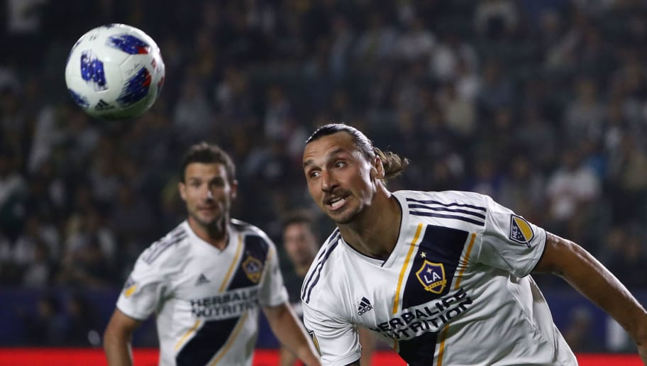 CARSON, CA - AUGUST 24:  Zlatan Ibrahimovic #9 of Los Angeles Galaxy pursues the ball during the first half of the MLS match at StubHub Center on August 24, 2018 in Carson, California. LAFC and the Galaxy played to a 1-1 draw.  (Photo by Victor Decolongon/Getty Images)
