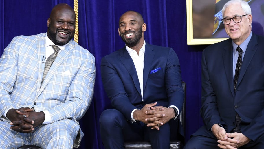 LOS ANGELES, CA - MARCH 24: Former Los Angeles Lakers players Shaquille O'Neal (L) Kobe Bryant and coach Phil Jackson during a ceremony where of O'Neal's statue was  unveiled at Staples Center March 24, 2017, in Los Angeles, California. NOTE TO USER: User expressly acknowledges and agrees that, by downloading and or using this photograph, User is consenting to the terms and conditions of the Getty Images License Agreement. (Photo by Kevork Djansezian/Getty Images)