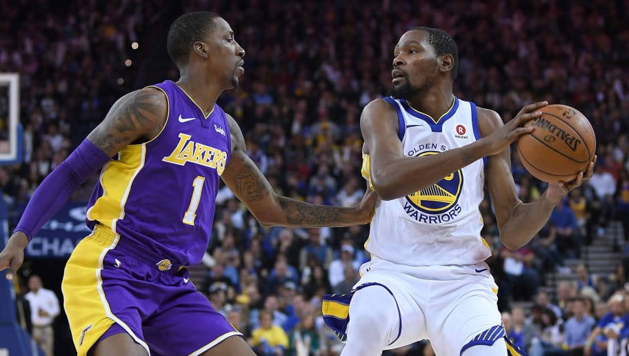 OAKLAND, CA - MARCH 14:  Kevin Durant #35 of the Golden State Warriors looks to pass the ball over the top of Kentavious Caldwell-Pope #1 of the Los Angeles Lakers during an NBA basketball game at ORACLE Arena on March 14, 2018 in Oakland, California. NOTE TO USER: User expressly acknowledges and agrees that, by downloading and or using this photograph, User is consenting to the terms and conditions of the Getty Images License Agreement.  (Photo by Thearon W. Henderson/Getty Images)