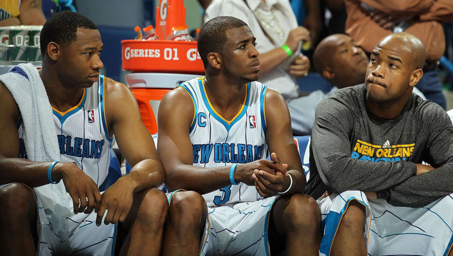 NEW ORLEANS, LA - APRIL 28:  (L-R) Willie Green #33, Chris Paul #3 and Jarrett Jack #2 of the New Orleans Hornets react on the bench during a 98-80 loss against the Los Angeles Lakers in Game Six of the Western Conference Quarterfinals in the 2011 NBA Playoffs on April 28, 2011 at New Orleans Arena in New Orleans, Louisiana.  NOTE TO USER: User expressly acknowledges and agrees that, by downloading and or using this photograph, User is consenting to the terms and conditions of the Getty Images License Agreement.  (Photo by Ronald Martinez/Getty Images)