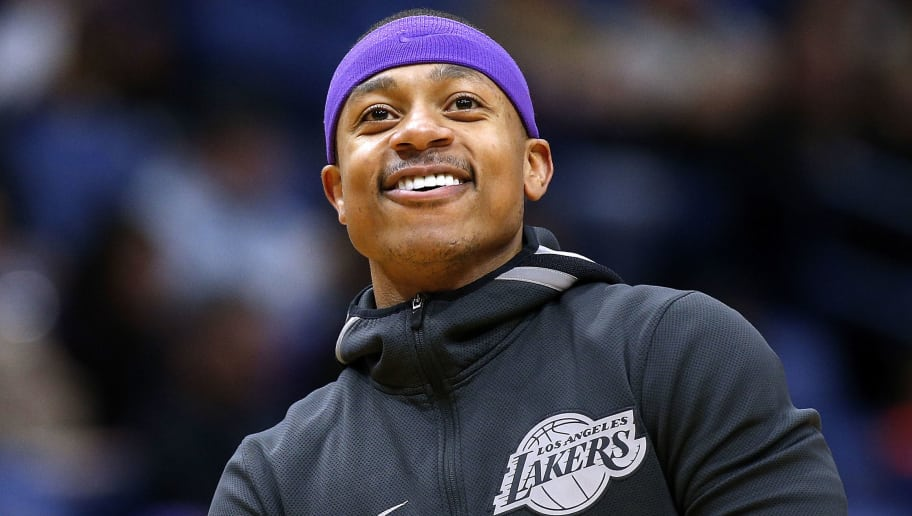 NEW ORLEANS, LA - MARCH 22:  Isaiah Thomas #3 of the Los Angeles Lakers reacts before a game against the New Orleans Pelicans at the Smoothie King Center on March 22, 2018 in New Orleans, Louisiana. NOTE TO USER: User expressly acknowledges and agrees that, by downloading and or using this photograph, User is consenting to the terms and conditions of the Getty Images License Agreement.  (Photo by Jonathan Bachman/Getty Images)