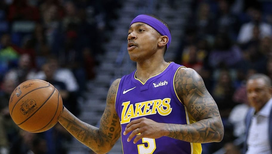 NEW ORLEANS, LA - MARCH 22:  Isaiah Thomas #3 of the Los Angeles Lakers drives with the ball during the first half against the New Orleans Pelicans at the Smoothie King Center on March 22, 2018 in New Orleans, Louisiana. NOTE TO USER: User expressly acknowledges and agrees that, by downloading and or using this photograph, User is consenting to the terms and conditions of the Getty Images License Agreement.  (Photo by Jonathan Bachman/Getty Images)