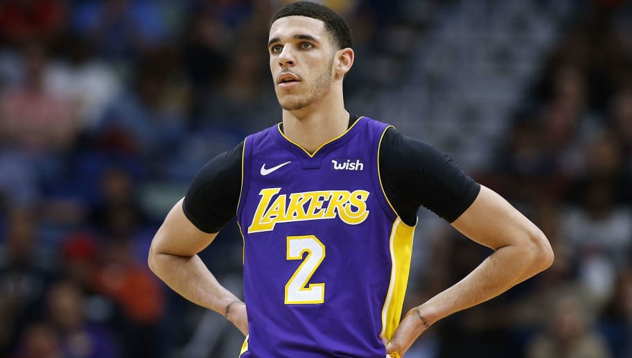 NEW ORLEANS, LA - MARCH 22:  Lonzo Ball #2 of the Los Angeles Lakers reacts during a game against the New Orleans Pelicans at the Smoothie King Center on March 22, 2018 in New Orleans, Louisiana. NOTE TO USER: User expressly acknowledges and agrees that, by downloading and or using this photograph, User is consenting to the terms and conditions of the Getty Images License Agreement.  (Photo by Jonathan Bachman/Getty Images)