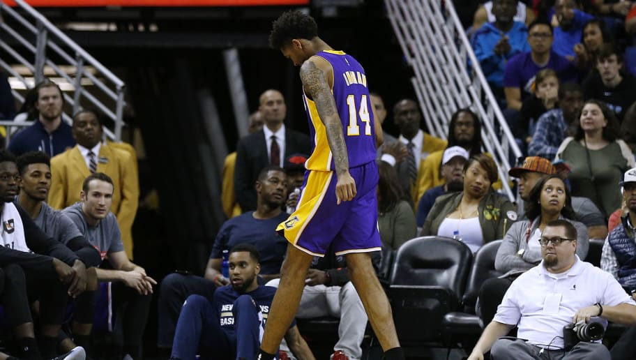 NEW ORLEANS, LA - NOVEMBER 12:  Brandon Ingram #14 of the Los Angeles Lakers reacts after injuring himself during the second half of a game against the New Orleans Pelicans at the Smoothie King Center on November 12, 2016 in New Orleans, Louisiana. NOTE TO USER: User expressly acknowledges and agrees that, by downloading and or using this photograph, User is consenting to the terms and conditions of the Getty Images License Agreement.  (Photo by Jonathan Bachman/Getty Images)