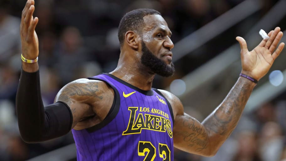 SAN ANTONIO, TX - DECEMBER 7: LeBron James #23 of the Los Angeles Lakers reacts during game against the San Antonio Spurs at AT&T Center on December 7 , 2018 in San Antonio, Texas.  NOTE TO USER: User expressly acknowledges and agrees that , by downloading and or using this photograph, User is consenting to the terms and conditions of the Getty Images License Agreement. (Photo by Ronald Cortes/Getty Images)
