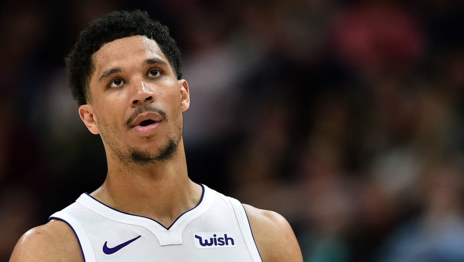 SALT LAKE CITY, UT - APRIL 03: Josh Hart #5 of the Los Angeles Lakers looks on against the Utah Jazz in a game at Vivint Smart Home Arena on April 3, 2018 in Salt Lake City, Utah. NOTE TO USER: User expressly acknowledges and agrees that, by downloading and or using this photograph, User is consenting to the terms and conditions of the Getty Images License Agreement. (Photo by Gene Sweeney Jr./Getty Images) *** Local Caption *** Josh Hart