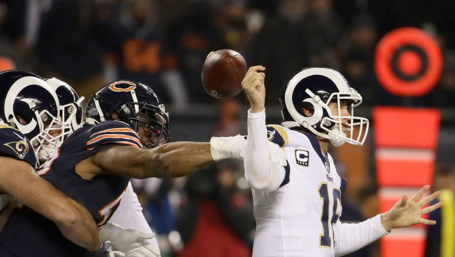 CHICAGO, IL - DECEMBER 09:  Quarterback Jared Goff #16 of the Los Angeles Rams gets the football stripped by Khalil Mack #52 of the Chicago Bears in the third quarter at Soldier Field on December 9, 2018 in Chicago, Illinois.  (Photo by Jonathan Daniel/Getty Images)
