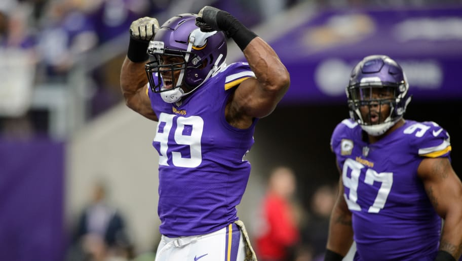 MINNEAPOLIS, MN - NOVEMBER 19: Danielle Hunter #99 and Everson Griffen #97 of the Minnesota Vikings celebrate a sack against the Los Angeles Rams during the game on November 19, 2017 at US Bank Stadium in Minneapolis, Minnesota. (Photo by Hannah Foslien/Getty Images)