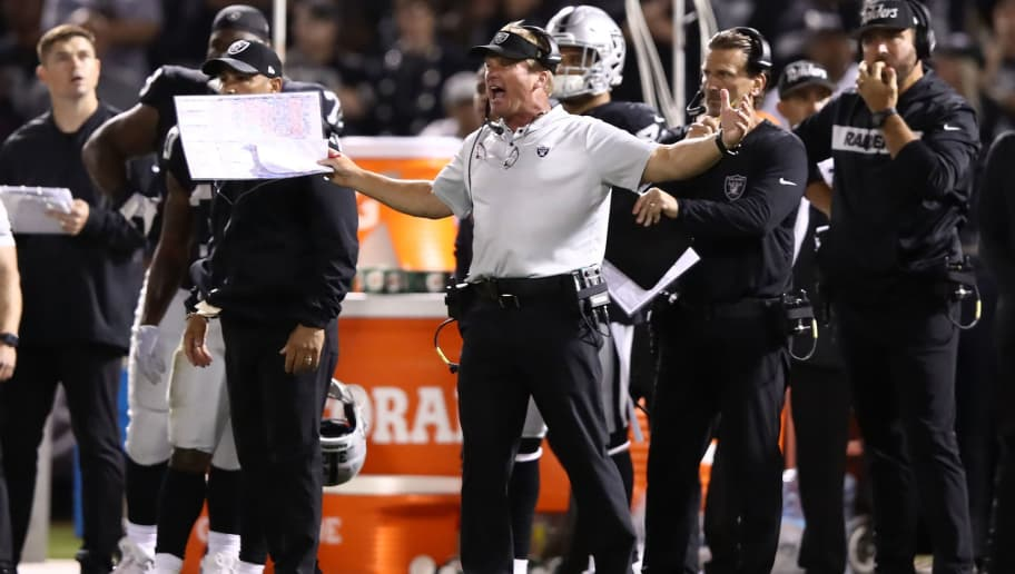 OAKLAND, CA - SEPTEMBER 10:  Head coach Jon Gruden of the Oakland Raiders reacts to a play against the Los Angeles Rams during their NFL game at Oakland-Alameda County Coliseum on September 10, 2018 in Oakland, California.  (Photo by Ezra Shaw/Getty Images)