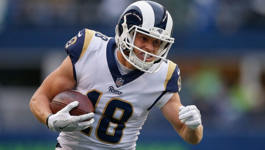 SEATTLE, WA - DECEMBER 17:  Wide receiver Cooper Kupp #18 of the Los Angeles Rams rushes against the Seattle Seahawks at CenturyLink Field on December 17, 2017 in Seattle, Washington.  (Photo by Otto Greule Jr/Getty Images)