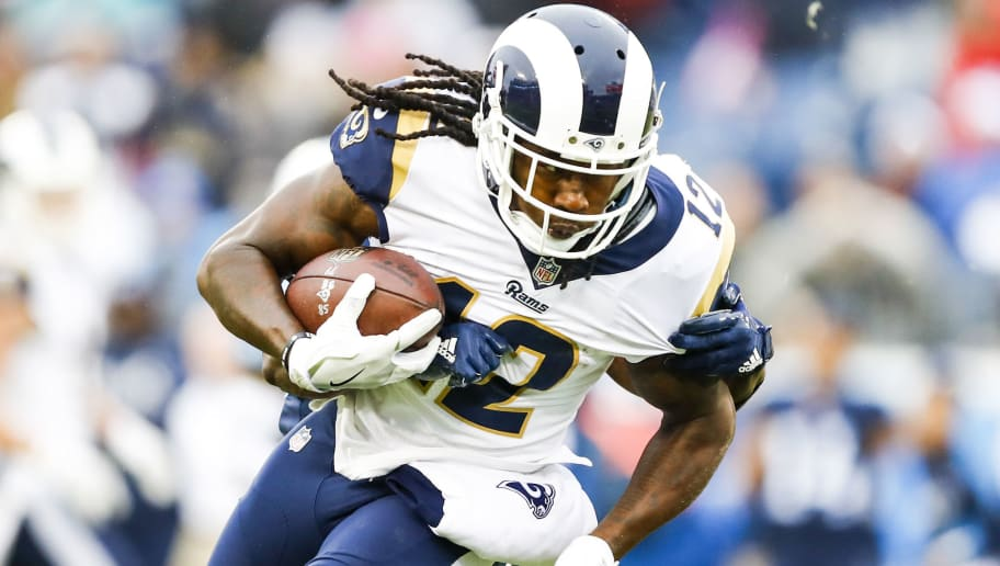 NASHVILLE, TN - DECEMBER 24: Wide Receiver Sammy Watkins #12 of the Los Angeles Rams carries the ball against the Tennessee Titians at Nissan Stadium on December 24, 2017 in Nashville, Tennessee. (Photo by Wesley Hitt/Getty Images)